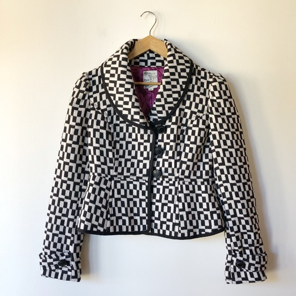 Tulle Jackets & Blazers - Tulle black and white retro inspired jacket Small